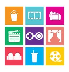 Flat Design Cinema Icons vector image vector image