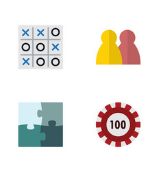 flat icon entertainment set of jigsaw x-o people vector image vector image