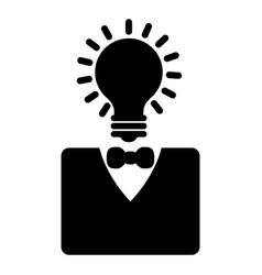 lightbulb head businessman character icon vector image vector image