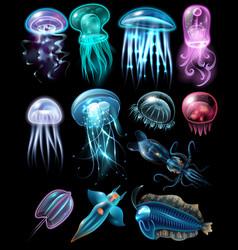 underwater animals icon set vector image vector image