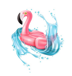 3d pink flamingo inflatable pool ring vector