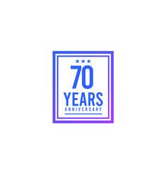70 years anniversary blue square design logo vector