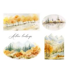 A watercolor set of autumn landscapes vector