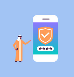 Arabic man unlock smartphone verification mobile vector