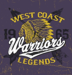 Athletic Style Warriors Apparel Design vector image