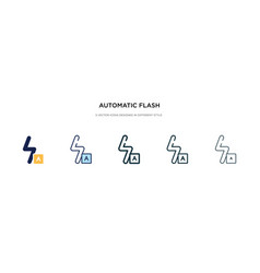 Automatic flash icon in different style two vector