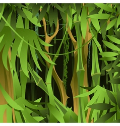 Background of green bamboo forest with lianas vector image