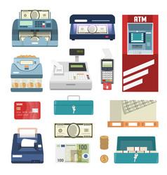 Bank attributes icon set vector