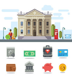 Bank building cityscape vector image