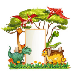 banner template with many dinosaurs in garden vector image