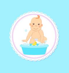 Bashower greeting card infant bathing in basin vector