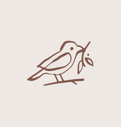bird leaf vintage aesthetic ink stroke logo icon vector image
