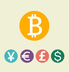 Bitcoin digital currency dollar euro pound vector