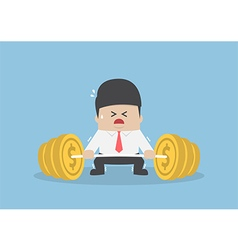 Businessman trying hard to lifting up barbell with vector image