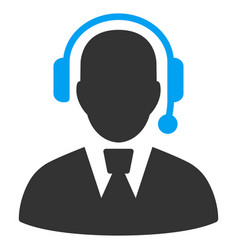 Call center manager flat icon vector