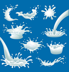Cartoon milk blots and splashes set vector