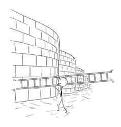 cartoon of business man carrying ladder to climb vector image