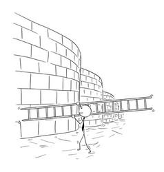 Cartoon of business man carrying ladder to climb vector