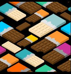 chocolate bar isometric pattern seamless vector image