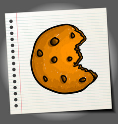 chocolate chip cookie doodle drawing sweet cookie vector image