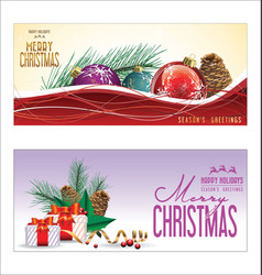 christmas background red balls with decorations 6 vector image