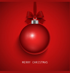 christmas card with ball and bow in red design vector image