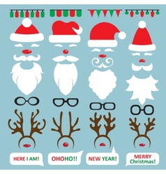 Christmas Photo Booth and scrapbooking set Santa vector image