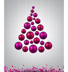 Christmas tree with magenta christmas balls vector image