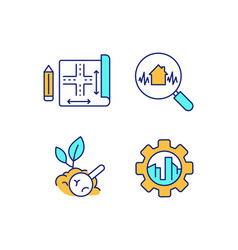 Civil engineering rgb color icons set vector