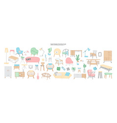 Collection of trendy and comfortable furniture vector