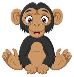 cute bachimpanzee cartoon sitting vector image