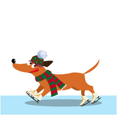 Cute cartoon dog dressed in knitted scarf and hat vector