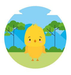 cute chick animal landscape natural vector image