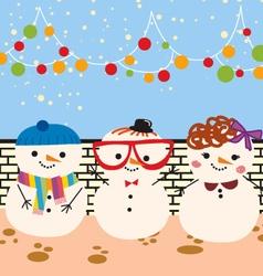 Cute snowmen doodle vector