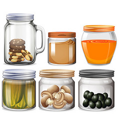 Different types of food in jars vector