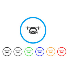 drone mail rounded icon vector image
