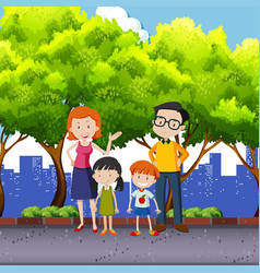family members standing in the park vector image