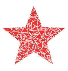 Five-pointed star collage of triangles vector