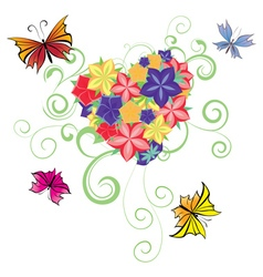 flowers and butterflies heart vector image