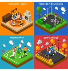 Friends Playing 4 Isometric Icons Composition vector