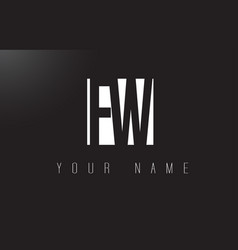 fw letter logo with black and white negative vector image