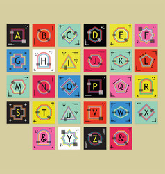 geometricalline alphabetical letters labels set vector image