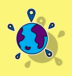 Globe earth with color pointer marks vector
