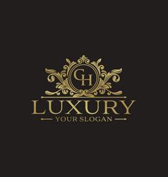 golden luxury logo design template vector image