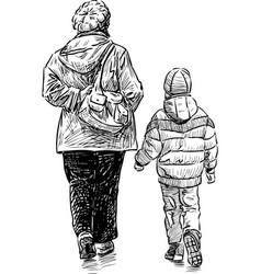 Grandmother and grandson go for a walk vector
