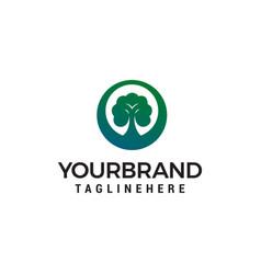 green tree landscape logo design concept template vector image