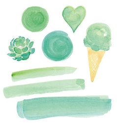 Green Watercolor Paint Design Elements Set vector image