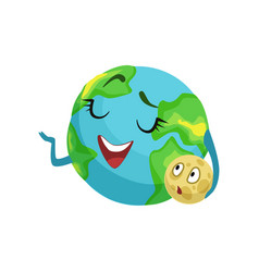Happy earth planet character holding moon in its vector