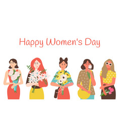 happy womens day greeting card with cartoon ladies vector image