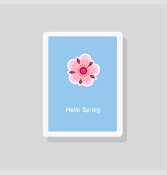 hello spring greeting card minimalist style vector image